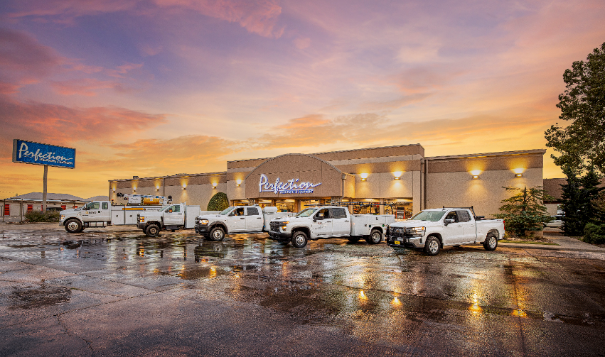 Perfection Truck Parts and Equipment store with trucks in front